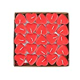 50 Pack Heart Shaped Unscented Tea lights Candles – Smokeless Tealight Candles - Decorations for Wedding, Party, Votives, Oil Burners and Christma (Red)