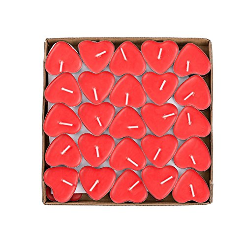 50 Pack Heart Shaped Unscented Tea lights Candles - Smokeless Tealight Candles - Decorations for Wedding, Party, Votives, Oil Burners and Christma (Red) -