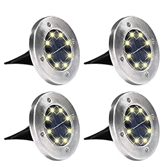 Yizhet 4 x Luces solares de tierra al aire libre, luces de camino ...