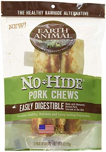 Earth Animal No Hide Pork Dog Chews 7-inch 2-Pack Dog Treats. The Safe Alternative to Rawhide.
