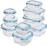 Utopia Kitchen [18-Pieces] Glass Food Storage Containers with Lids - Glass Meal Prep Containers with Transparent Lids BPA Free and FDA Approved (9 Containers and 9 Lids) Larger Image