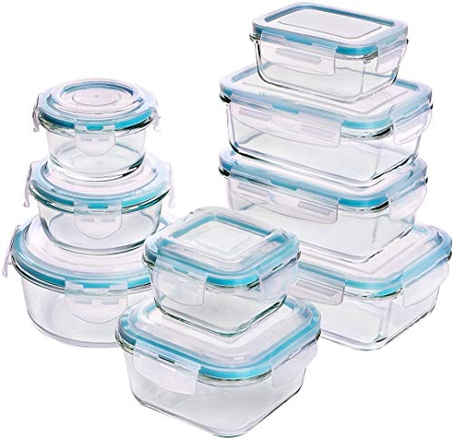Leaf Vegetable Bowl - Utopia Kitchen [18-Pieces Glass Food Storage Containers with Lids - Glass Meal Prep Containers with Transparent Lids BPA Free and FDA Approved (9 Containers and 9 Lids)