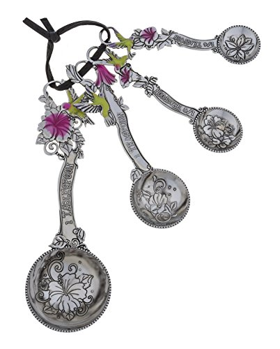 Ganz ER21714 4-Piece Set, Hummingbirds Measuring Spoon, One Size, silver