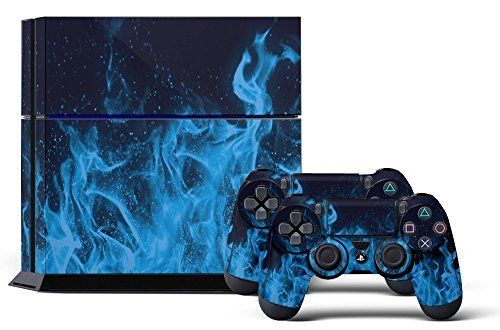 PS4 Console Designer Skin for Sony PlayStation 4 System plus Two(2) Decals for: PS4 Dualshock Controller Ice Flame