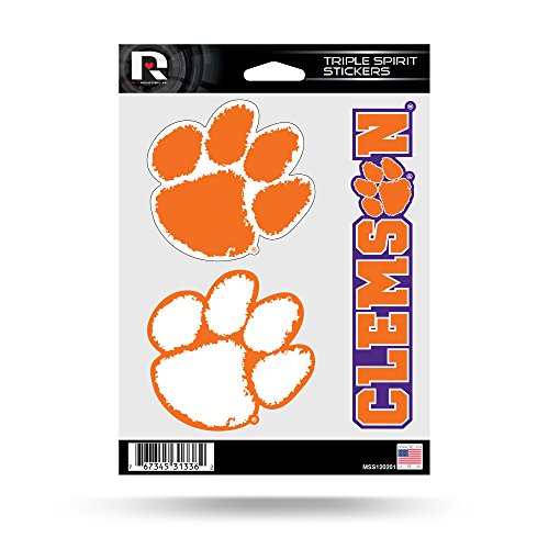 Rico Industries NCAA Clemson Tigers Die Cut 3-Piece Triple Spirit Sticker Sheet