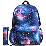 School Bag For Boys Girls, SKL Galaxy Blue Stylish Unisex Canvas Book Bag School Backpacks For Girls Boys With Pen Bag