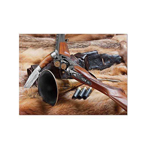 C COABALLA Hunting Decor Heat Resistant Table Mat,Hunting Materials on Fur Rifle Ammunition Cartridge Knife Sheath Decorative for Dining,15.7