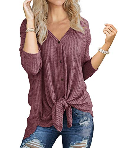 Womens Vintage Loose fit Tunic Blouse Tie Knot Henley Tops Bat Wing Plain Shirts ()