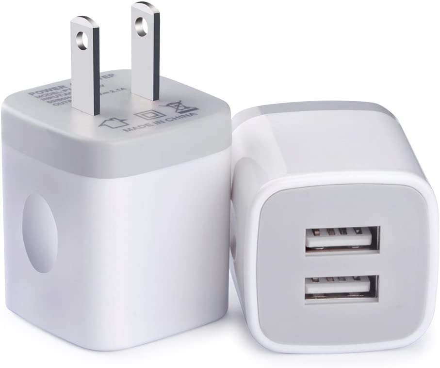 USB Charger Plug, Charging Block, 2-Pack 5V/2.1A Wall Charger Adapter Brick Box Charger Head Compatible for iPhone 11 XS/Max/XR/X/8/7, iPad, iPod, Samsung S20 S10 S9 Note10/9/8, Google Pixel, LG