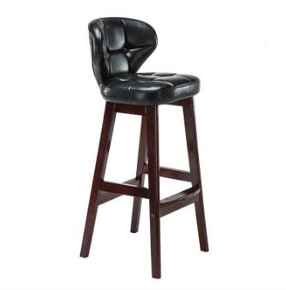 YJR-チェア モダンコンサイス ソリッドウッドシートハイスツールバーキッチンブレックファーストダイニングチェア背もたれ椅子PUレザークッションブラック キッチンホーム&コマーシャル用 ( 色 : C ) B076M42GD2C