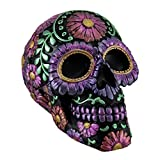 Zeckos Resin Toy Banks Black And Purple Metallic Finish Day Of The Dead Sugar Skull Coin Bank 7.75 X 6 X 5.75 Inches Purple