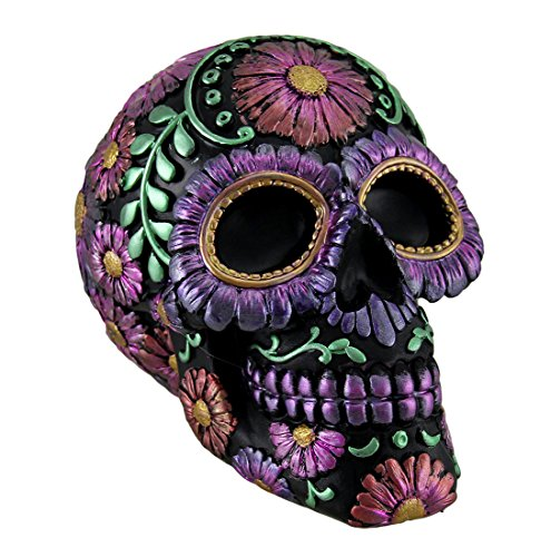 (Zeckos Black and Purple Metallic Finish Day of The Dead Sugar Skull Coin Bank)