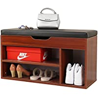 Soges Storage Bench Storage Hall Shoe Rack Bench Rack Shoes Rack Black, M018-BX