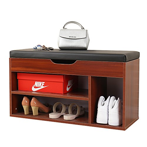 Soges Storage Bench Storage Hall Shoe Rack Bench Rack Shoes Rack Black, M018-BX (Hall Shoe Storage)
