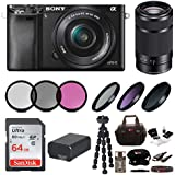 Sony ILCE-6000LB Alpha A6000 Mirrorless Digital Camera (Black) Bundle with Sony E 55-210mm F4.5-6.3 Lens (Black) + Sony 32GB SDHC/SDXC Class 10 UHS-1 Memory Card + Camera Case + NPFW50 Battery