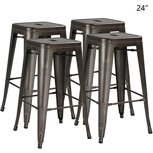 Bossin 24 Modern Metal Stool Backless Industrial Counter