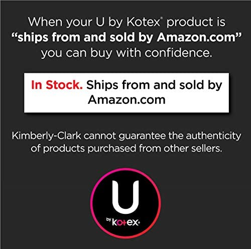 U via Kotex Security Ultra Thin Feminine Pads, Regular, Unscented, 176 Count (4 Packs of 44) (Packaging May Vary)
