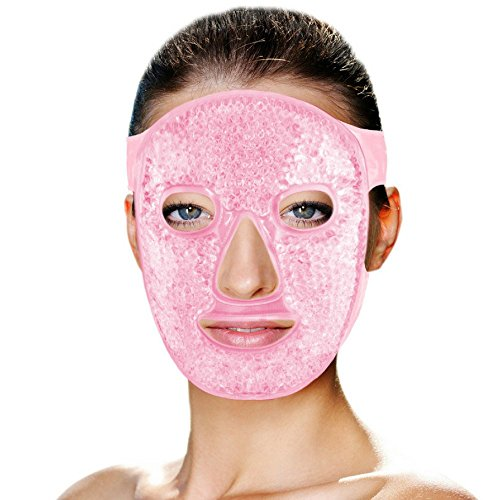 Hot and Cold Therapy Gel Bead Full Facial Mask by FOMI Care | Ice Face Mask for Migraine Headache, Stress Relief | Reduces Eye Puffiness, Dark Circles | Fabric Back ()