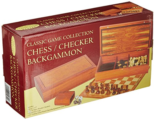 Chess/Checker/Backgammon (Classic Game Collection) Burlwood Backgammon Set