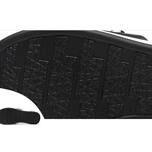 Ete Imperméable Confortables Option 5CM 3 2CM avec Tableau Haut Blanc PU Fond Feifei En Pantoufles Chaussures Noir Plat Femmes Noir Matériau x8qwn6WA5F