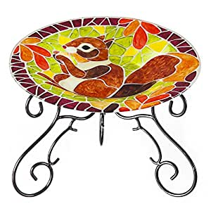 Autumn Squirrel Painted Mosaic Glass Tabletop Birdbath with Stand