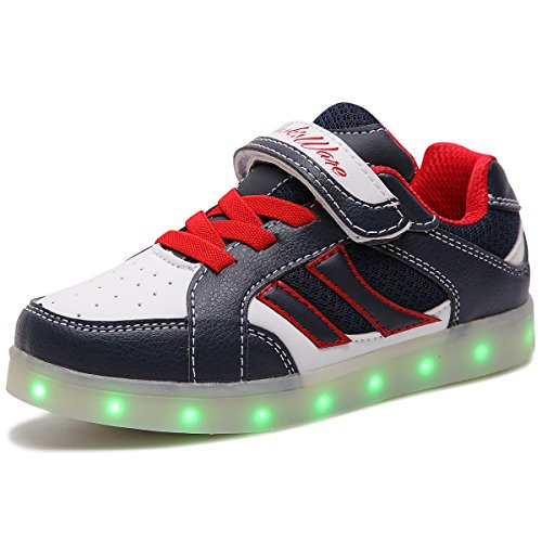 HUSKSWARE Multi-Color LED Lighting Shoes with USB Charging for Little Kid/Big Kid Blue and White - 1 M US Little (Us Size Chart Kids)