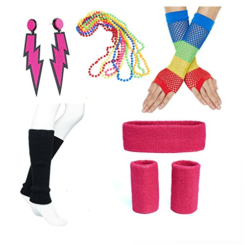 [80s Fancy Outfit Costume Accessories Set Headband Leg Warmers Fishnet Gloves Neon Earrings and Neon Beads] (Neon Outfits)