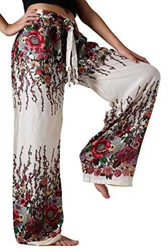Bangkokpants Women's Yoga Pants Flowers Palazzo Style White US Size 0-12