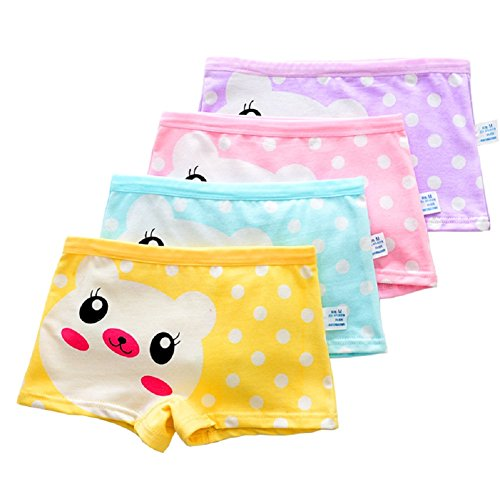 USex Sense 12 Pack Little Girls Cotton Boyshorts Lovely Boxers Underwear Size 2-12 years (XL 8-11years, Mixed 1707)