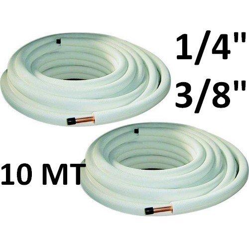 """Tubi rame coppia 1/4"""" 3/8"""" - 10 mt - per condizionamento ISOCLIMA"""