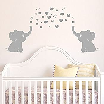 Amazoncom Elephant Bubbles Nursery Wall Decal Set Grey Baby - Nursery wall decals elephant