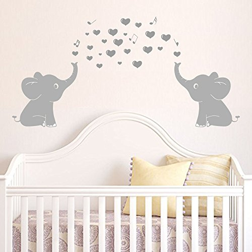 """Elephant Household Wall Decal With Hearts Music Quote Art Baby Nursery Wall Decor (Grey) - 24"""" X 51"""""""
