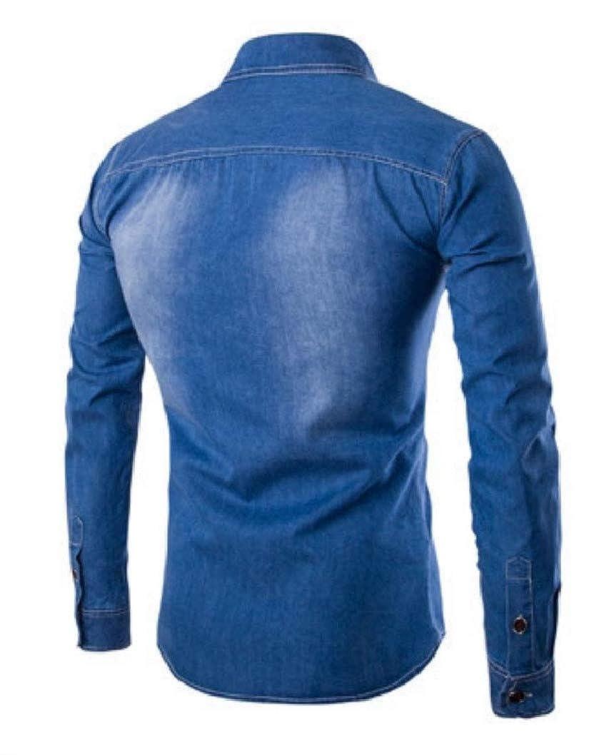 RDHOPE-Men Hest Pockets Trim-Fit Baggy Washed Denim Blouses and Tops Shirts