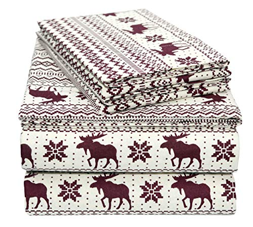 EnvioHome 160 Gram Flannel 4 Pc Sheet Set - Queen, Moose Petten