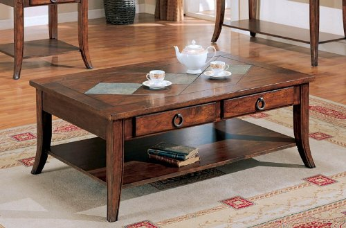 Coffee Table with Storage Drawers in Rich Brown Finish