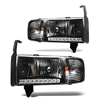 Amazon.com: 94-01 Dodge RAM 1500 LED DRL Headlight - Black Housing