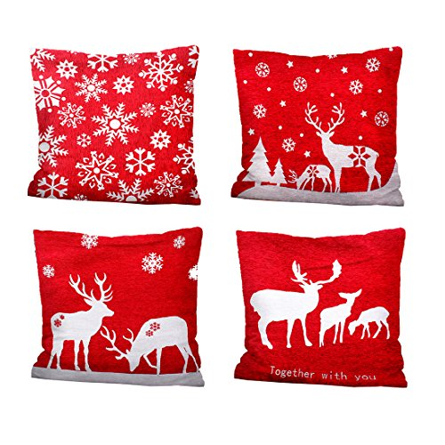 iMucci 4 Packs 18 X 18 Inch Merry Christmas Square Pillowcases - Holiday Decoration Santa Claus Pillow Cover (Red) (Red Holiday Pillow)