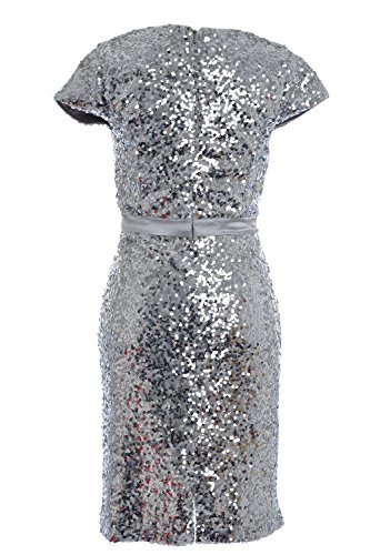 MACloth Elegant Cap Sleeve Sequin Bridesmiad Dress Cocktail Party Formal Gown Cielo azul