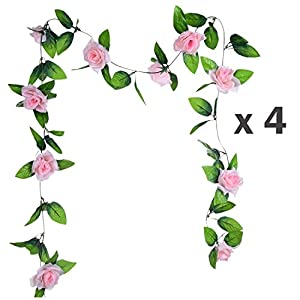 Flower Ivy Garland Artificial Silk Rose Garland,4 Strands Each Strand 7.9FT Fake Flower Ivy Leaf Vine Plants Home Hanging Party Garden Wedding Decor,Pink 5