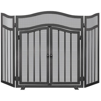 Uniflame S-1026 3 Panel Wrought Iron Screen with Doors