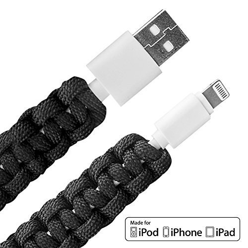 Tiger Paracords™ Lightning To USB iPhone Charger Cable with Paracord (100cm) - Portable Heavy Duty Durable - Type III 100% Nylon, High Speed Data Sync - Tiger Quality Means Ferocious Performance