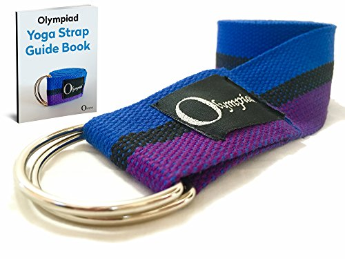 Yoga-Strap-Belt-by-Olympiad-With-Metal-D-Ring-8ft-x-2inch-E-Book-Guide-Included-Professional-Studio-Quality-Wider-for-Better-Stability-While-Holding-Poses