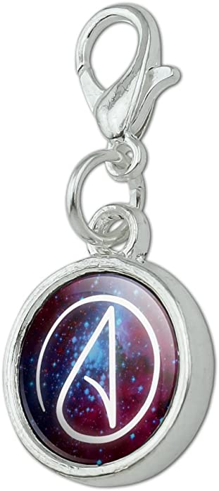 GRAPHICS /& MORE Atheist Atheism Symbol in Space Antiqued Bracelet Pendant Zipper Pull Charm with Lobster Clasp