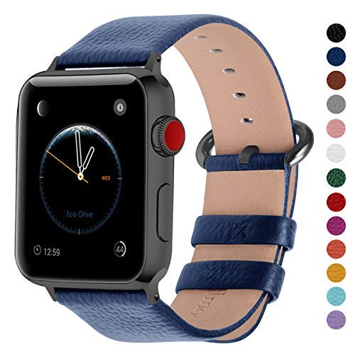 (Fullmosa Compatible Smart Watch Band 44mm 42mm 40mm 38mm, Genuine Leather Band Compatible for Watch Strap/Band for Watch Series 4 3 2 1, 44mm 42mm Dark Blue + Smoky Grey Buckle )