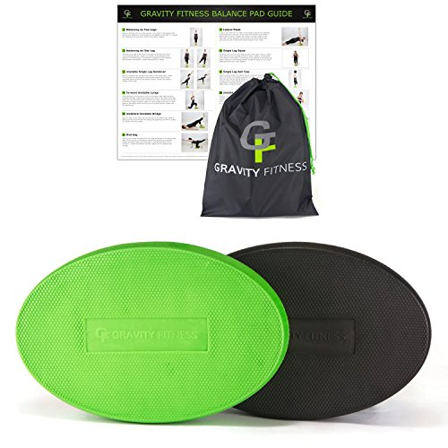 "Gravity Fitness Oval Balance Pad, Premium Quality Balance Trainer for Physical Therapy, Non-slip texture, 2.5"" Thick Foam, Free Storage Bag and Exercise Guide. (Green)"