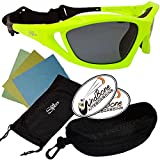 SeaSpecs Stealth Neon Green Yellow Action Water Sports Floating Sunglasses w Semi Rigid Case Bundle (5 Items)+ Flex Clip Case + Soft Carry Pouch + Lens Cloth + WindBone Kiteboarding Lifestyle Stickers