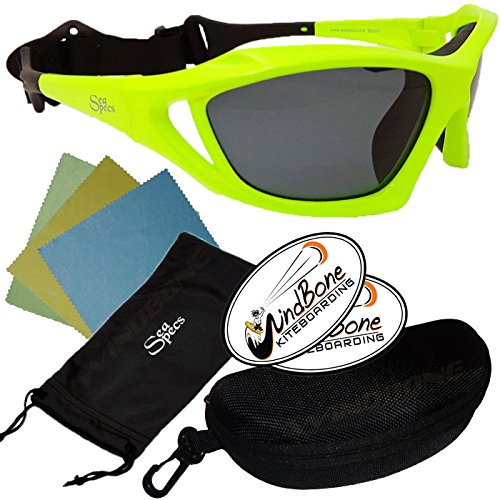 SeaSpecs Stealth Neon Green Yellow Action Water Sports Floating Sunglasses w Semi Rigid Case Bundle (5 Items)+ Flex Clip Case + Soft Carry Pouch + Lens Cloth + WindBone Kiteboarding Lifestyle Stickers by SeaSpecs, FlexClip, WindBone