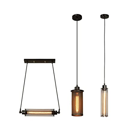 lámpara de Techo Industrial con jaula metálica A hilo, lámpara de ...