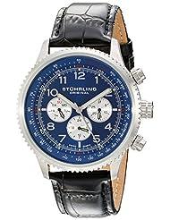 Stuhrling Original Men's 858L.02 Octane Concorso Silhouette Swiss Quartz Day and Date Blue Dial Watch