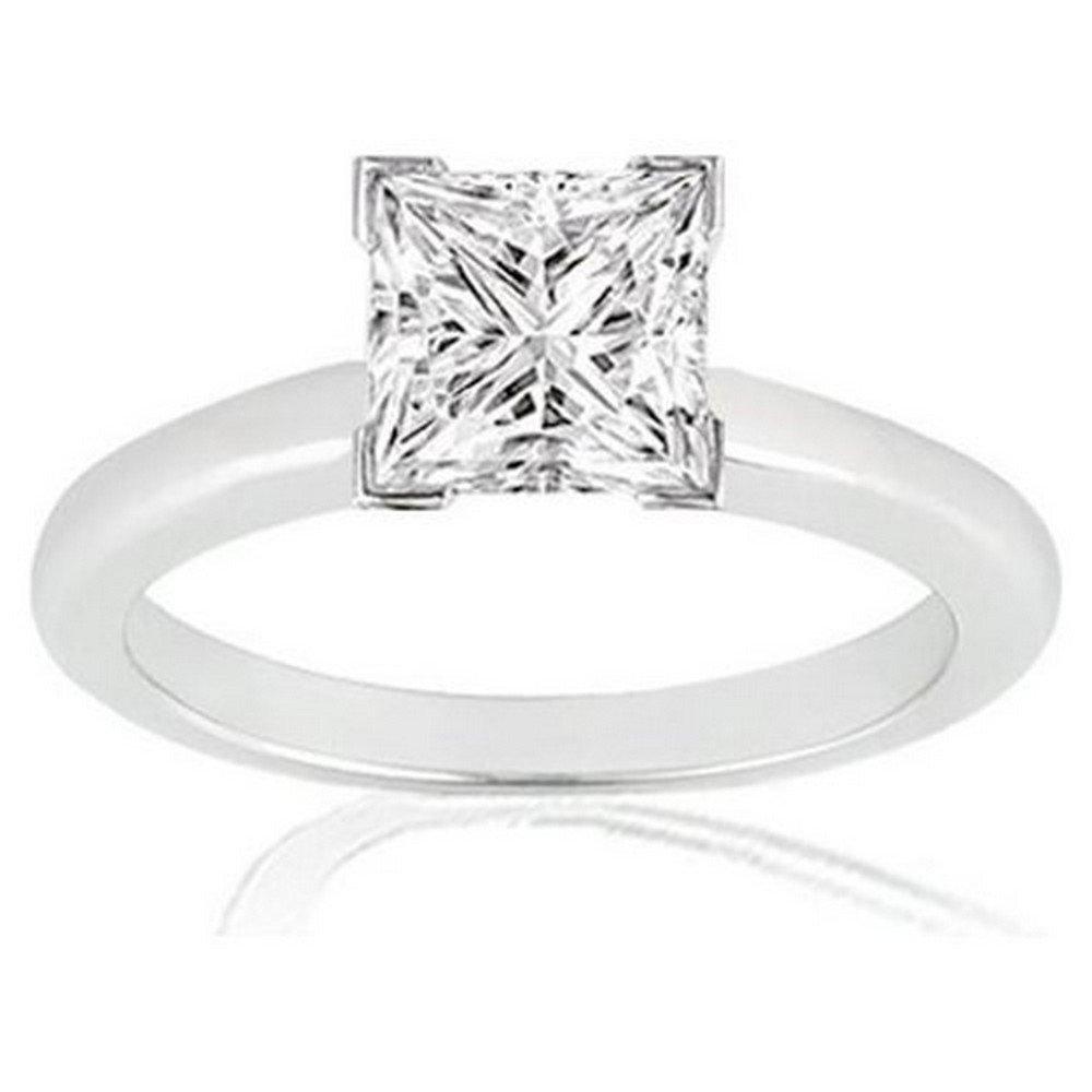 1/3 Carat 14K White Gold Princess Cut V Prong Solitaire Diamond Engagement Ring (0.3 Carat H-I Color VS1-VS2 Clarity)